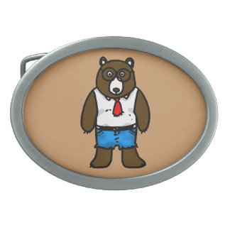 Hipster brown wild bear with a red tie oval belt buckles