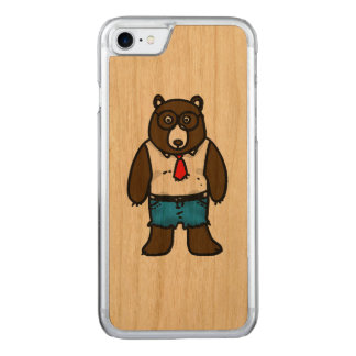Hipster brown wild bear with a red tie carved iPhone 7 case