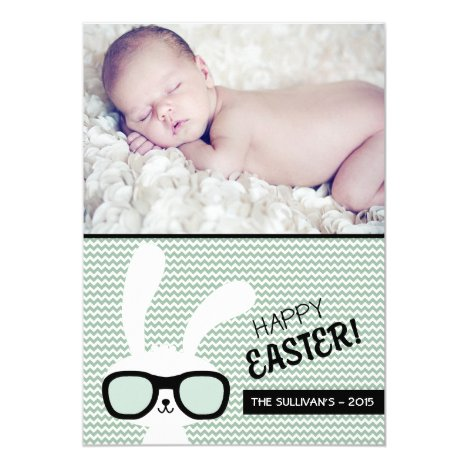 Hipster Bunny   Happy Easter Photo Flat Card