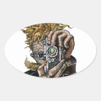 Hipster Camera Oval Sticker