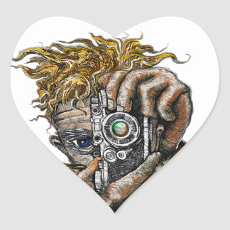 Hipster Camera Heart Sticker