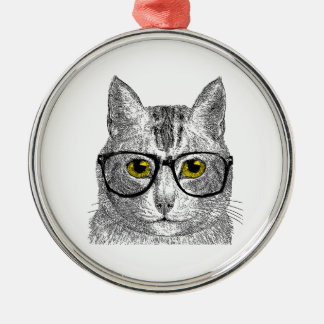 Hipster Cat - Cat Humor Christmas Ornament