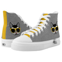 Hipster Cat in Gray and Yellow with Denim Look High-Top Sneakers
