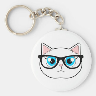 Hipster Cat Keychain