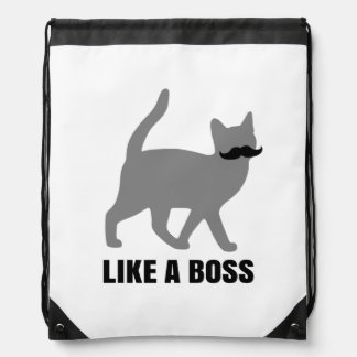 Hipster Cat like a boss Drawstring Bag