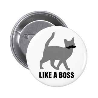 Hipster Cat like a boss Pinback Button