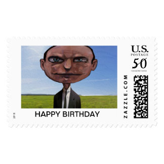 hipster cat makes stamps HAPPY BIRTHDAY