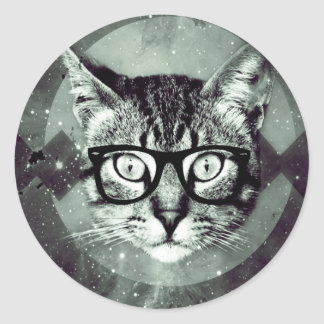 Hipster Cat Pet Classic Round Sticker