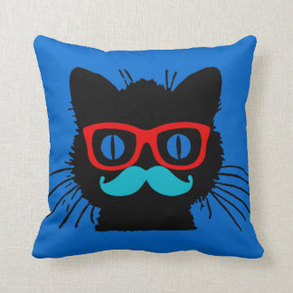 Hipster Cat Pillow with glasses and mustache