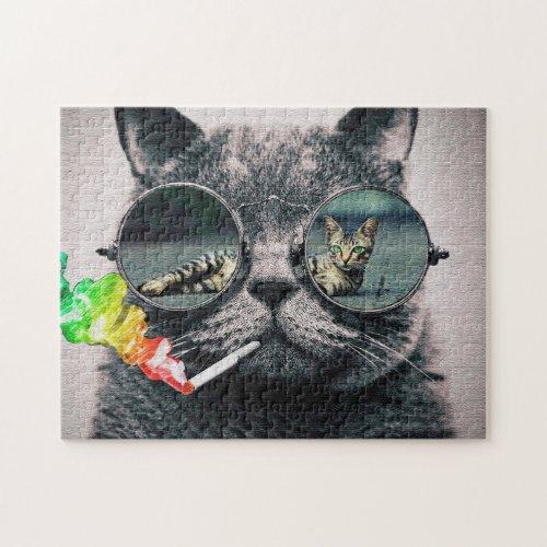 Hipster Cat Smoking Jigsaw Puzzle
