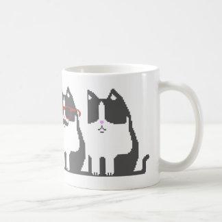 Hipster Cat Standing Out Pixel Art Mug