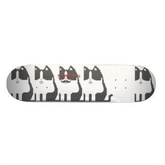 Hipster Cat Standing Out Pixel Art Skateboard