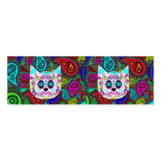Hipster Cat Sugar Skull Teal Pink Retro Paisley Business Card Template