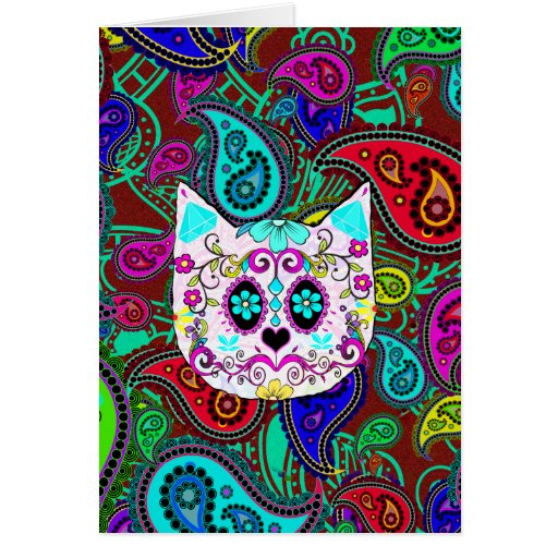 Hipster Cat Sugar Skull Teal Pink Retro Paisley Cards