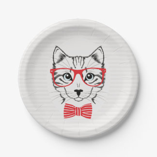 Hipster Cat with Fancy Red Bow. Paper Plate
