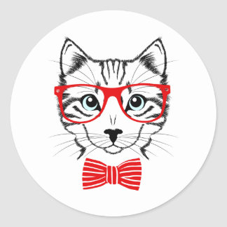 Hipster Cat with Glasses & Bowtie Classic Round Sticker