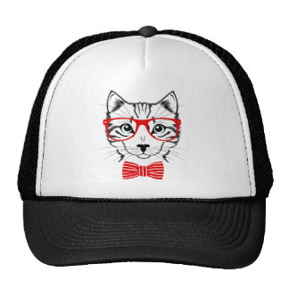 Hipster Cat with Glasses & Bowtie Trucker Hat