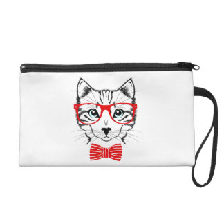 Hipster Cat with Glasses & Bowtie Wristlet Purse