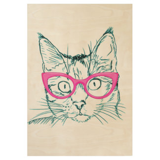 Hipster Cat Wood Poster