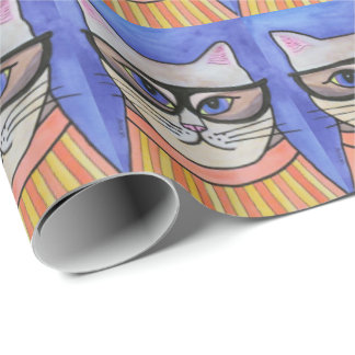 Hipster Cat Wrapping Paper