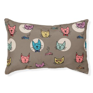 Hipster Cats and Fish Small Dog Bed