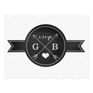 Hipster Chalkboard Arrow Heart RSVP Card Postcard