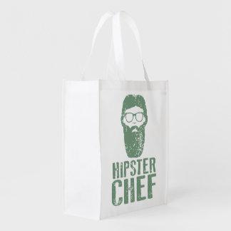 Hipster Chef Reusable Grocery Bag