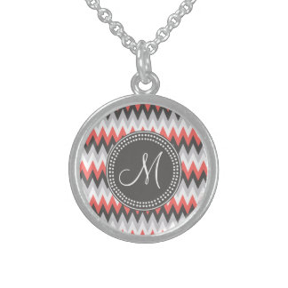 Hipster Chevron Monogram Pattern Necklace