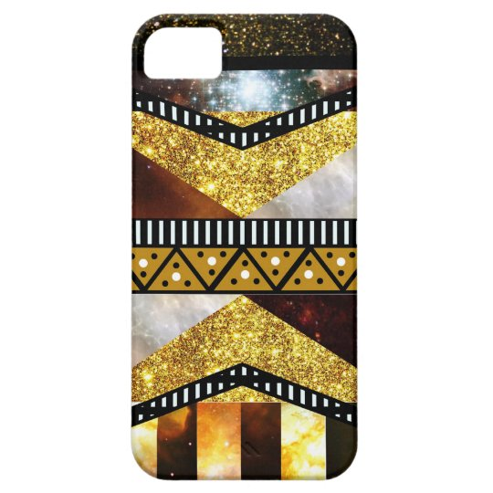 Hipster Chic Golden Faux Glitter Galaxy Aztec iPhone SE/5/5s Case