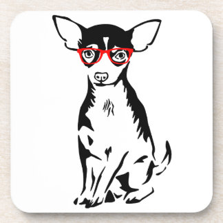 Hipster Chihuahua Red Glasses Beverage Coaster