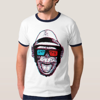 HIPSTER CHIMP 3D + GLASSES T SHIRT