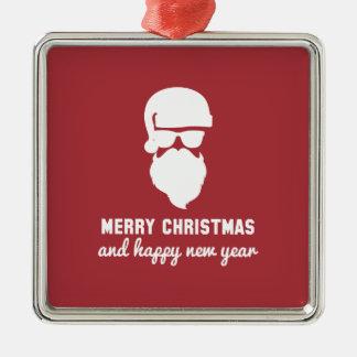 Hipster Christmas Square Metal Christmas Ornament