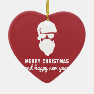 Hipster Christmas Double-Sided Heart Ceramic Christmas Ornament