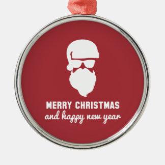 Hipster Christmas Round Metal Christmas Ornament