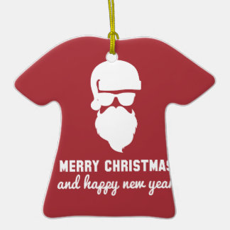 Hipster Christmas Double-Sided T-Shirt Ceramic Christmas Ornament