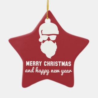 Hipster Christmas Double-Sided Star Ceramic Christmas Ornament
