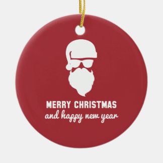 Hipster Christmas Double-Sided Ceramic Round Christmas Ornament