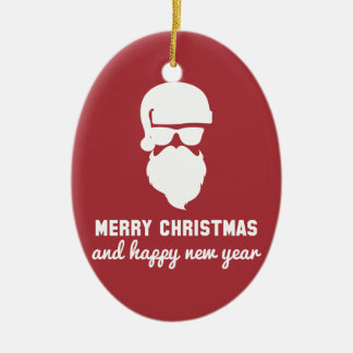Hipster Christmas Double-Sided Oval Ceramic Christmas Ornament