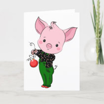 hipster christmas pig holiday card