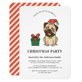 Hipster Christmas Pug | Holiday Party Invitations