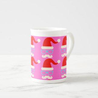 hipster christmas santa china mug pink