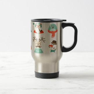 hipster christmas santa travel mug