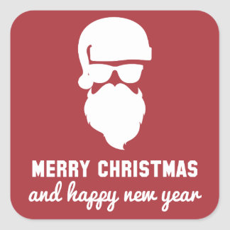 Hipster Christmas Square Sticker