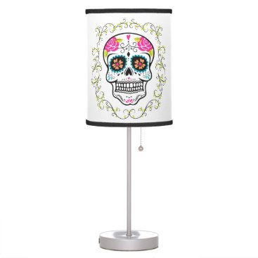 Halloween Themed Hipster Colorful Sugar Skull Desk Lamp