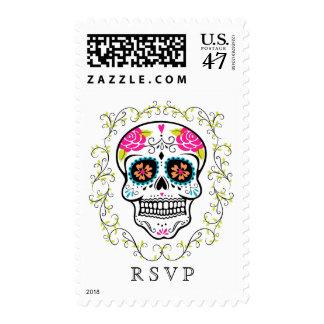 Hipster Colorful Sugar Skull RSVP Postage