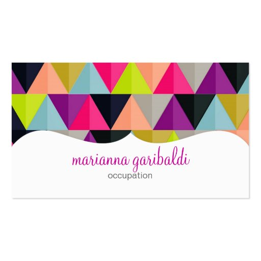 Hipster colorful triangles pattern personalized business for Hipster business card