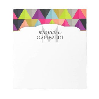 Hipster Colorful Triangles Pattern  Personalized Notepad