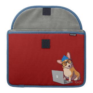 Hipster Corgi 2 Macbook Sleeve