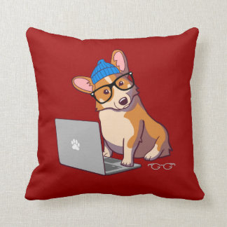 Hipster Corgi 2 Pillow (without text)