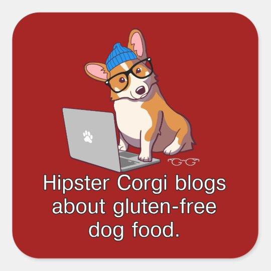 Hipster Corgi 2 Square Sticker